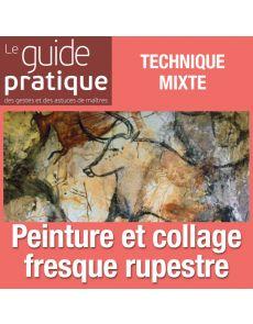 Matières, peinture et collages pour une fresque rupestre, technique mixte