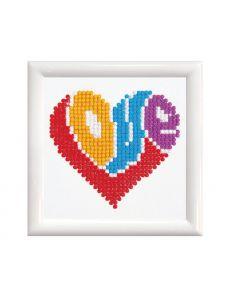 Kit broderie diamant Love coeur avec cadre - DIAMOND DOTZ®