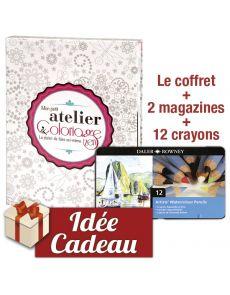 Mon petit atelier Coloriage Zen - Coffret de 2 magazines collector + 12 crayons aquarellables