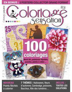 Coloriage Sensation n°4 - 100 coloriages Word Art, peintures mystère, puzzles, points à relier