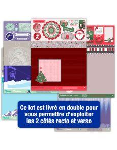 Lot de 16 pages d'étiquettes Papiers Créatifs - Thème Nouvelle année, Noël, Sports d'hiver