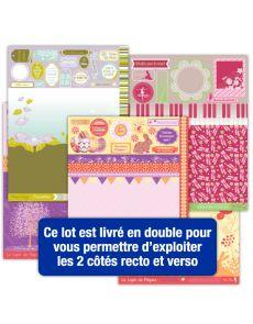 Lot de 16 pages d'étiquettes Scrapbooking sur le thème de Pâques, Anniversaire, Invitations