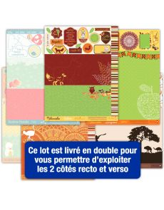 Lot de 16 pages d'étiquettes Papiers Créatifs - Thème famille, naissance, tendres moments, voyages
