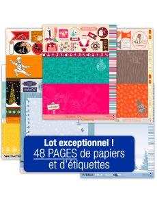 Lot de 48 pages d'étiquettes Papiers Créatifs - Thème Noël, Cocooning, Sports d'hiver