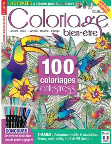 Coloriage bien-être 18 - Thèmes : Automne, motifs et mandalas, fleurs, méli-mélo, l'art de Fil Kusto...