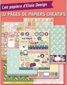 Lot de 32 pages d'étiquettes Scrapbooking sur les thèmes Naissance, Jardinage, belle journée