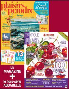 Pochette Plaisirs de peindre n°66 + le hors-série AQUARELLE de Pratique des Arts