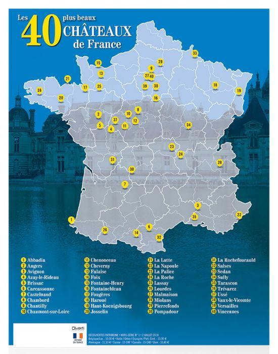 carte des chateaux de france Les 40 plus beaux châteaux de France   Découvertes Patrimoine
